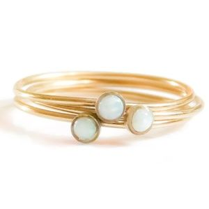 Gold White Fire Opal Ring